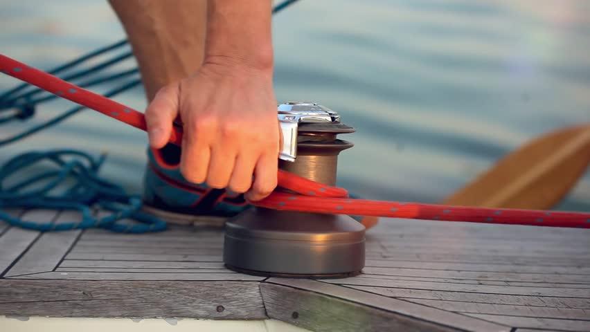Ships boy knotting  rope on a boat.  1920x1080 #11714510