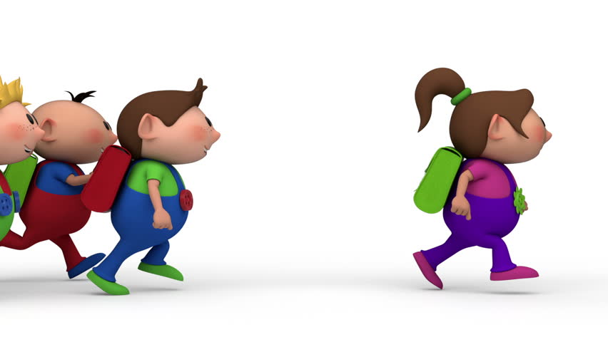 school kids running across the screen - three boys chasing a girl - back to school concept - loopable