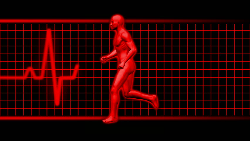 man running in red with ekg heart pulse HD 1080i