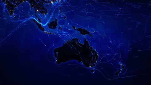 World map with connections. Oceania and Asian map with bright connections and city lights. Aerial, maritime, ground routes and country borders. Blue. Images courtesy of http://www.nasa.gov.