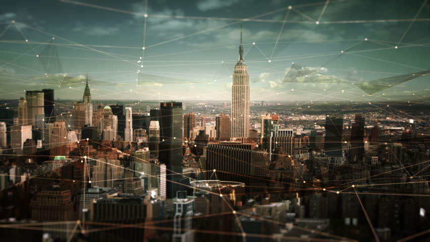 Aerial view of Manhattan Skyline with connections. Technology-Futuristic. Shot of midtown Manhattan at daylight. | Shutterstock HD Video #11728502