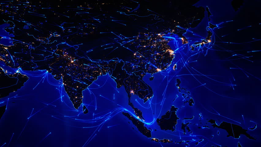 world map with bright connections and city lights aerial maritime terrestrial routes and