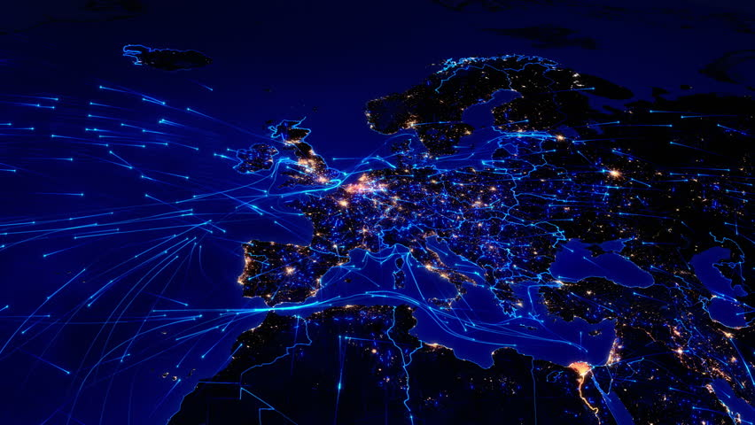World map with connections. European and Asian map with bright connections and city lights. Aerial, maritime, terrestrial routes and country borders. 2 shots in 1 file. Blue. | Shutterstock HD Video #11728574