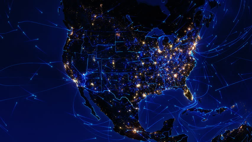 World Map With Bright Connections And City Lights Shots In - Us night map