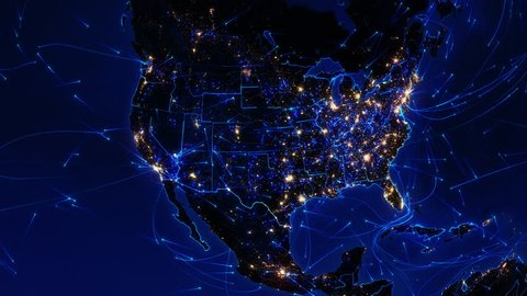 World connections. US. Aerial, maritime and ground routes. State and country borders. Animation of the Earth with bright connections and city lights. Locked. Blue. Images: http://www.nasa.gov.