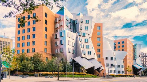 CAMBRIDGE, MA- SEPT 15, 2015: (Timelapse) MIT Massachusetts Institute of Technology college campus on September 15, 2015. MIT has modern architecture by Pritzker Prize-winning architect Frank Gehry.