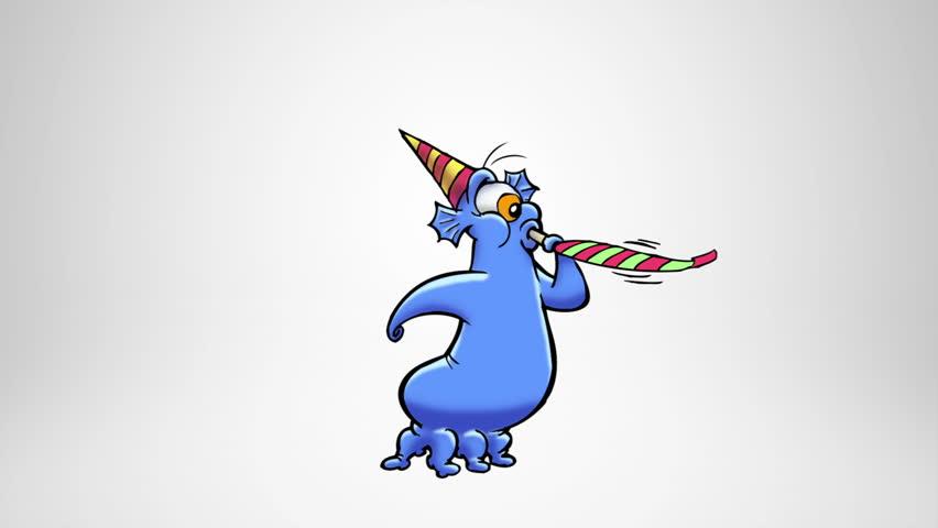 Happy monster celebrating. Birthday. Alpha Matte. Classic animated monster celebrating. More options in my portfolio.
