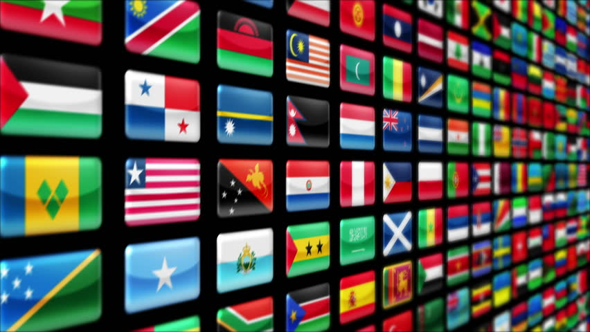 Wall filled with colorful world flags. Luma matte. Loopable. More colors in my portfolio.