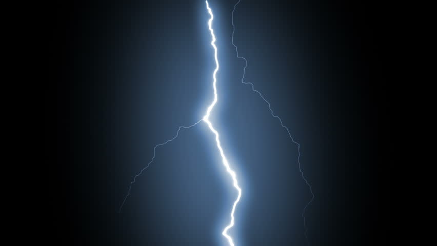 Several Lightning Strikes Over Black Background Blue Electrical Storm More Options In My