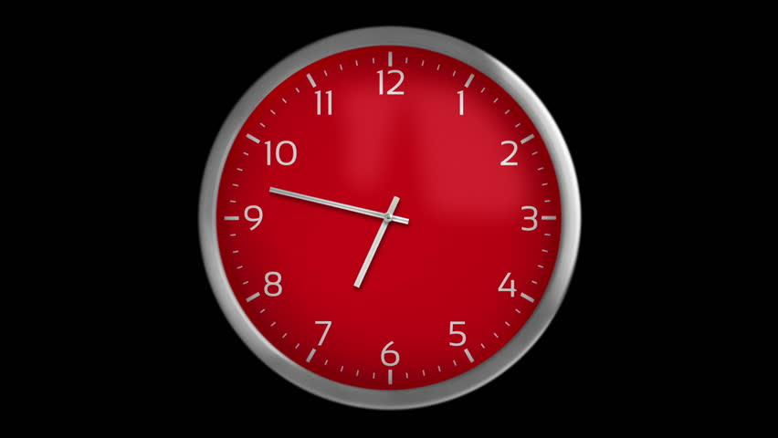 Classic wall clock with 12 hours, you can choose any hour or minute. Red. 1 frame per minute. Loopable. Black background. More options in my portfolio.