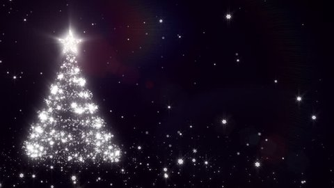 Christmas background with bright snow. Black. Bright snowflakes falling forming a Christmas tree, with space for your text. Loopable from frame 391 to the end.