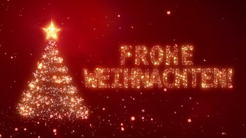 Frohe Weihnachten. Christmas background with bright snow. Background with the words Merry Christmas in different languages. German version. Loopable from frame 391 to the end.