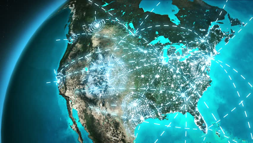 World connections with city lights. Cyan and green. Spinning Earth with light lines growing from major cities all over the world. Loopable. Images courtesy of: NASA http://www.nasa.gov