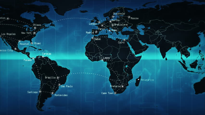 World map with names stock footage video shutterstock world map showing well known cities and times zones with connections blue loopable gumiabroncs Image collections
