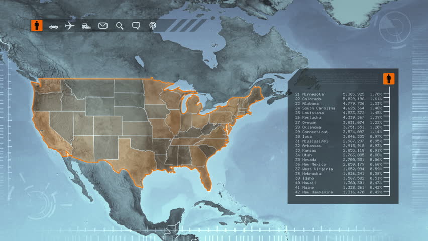 World Map With Us Statistics Population Airports Routes And Railroads Gray Highly Detailed Us Map Loopable Accurate Statistics