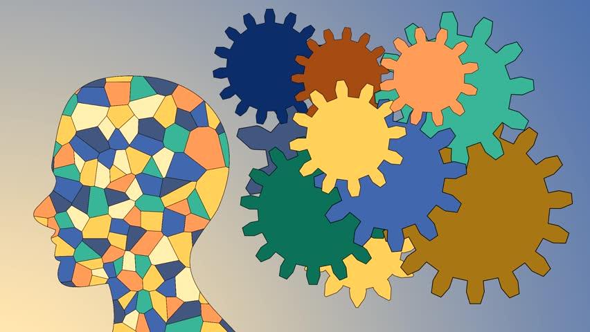 Gears rotate inside the brain power of teamwork