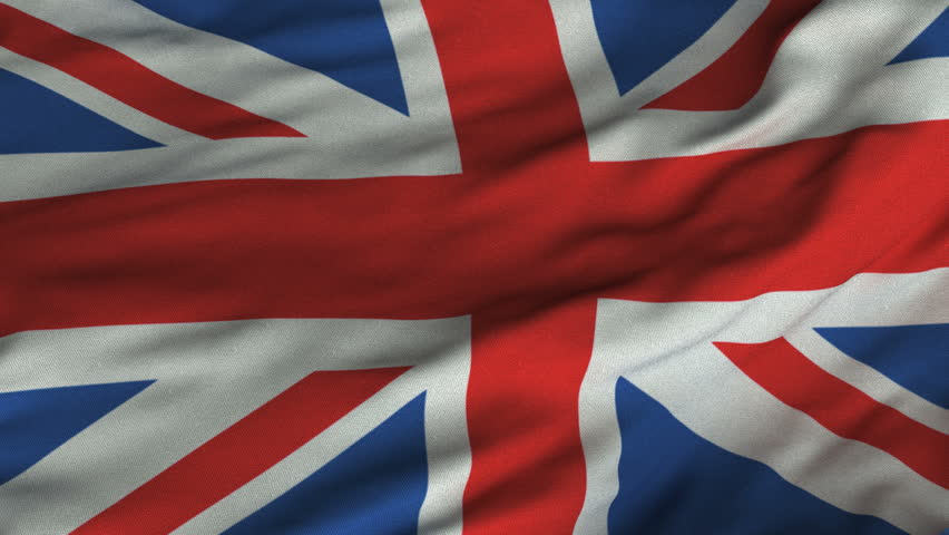 Seamless looping 3D rendering closeup of the flag of the United Kingdom.  Flag has a detailed realistic fabric texture and an accurate design and colors.