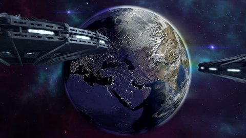 Animated ufos flying to enlightened earth 4K. 3d rendering.