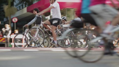 SAO PAULO, SP - BRAZIL JULY 2015 - Bikers take over the avenue Paulista during the first Sunday bike zone