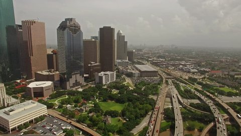 Aerial video of Houston, Texas.