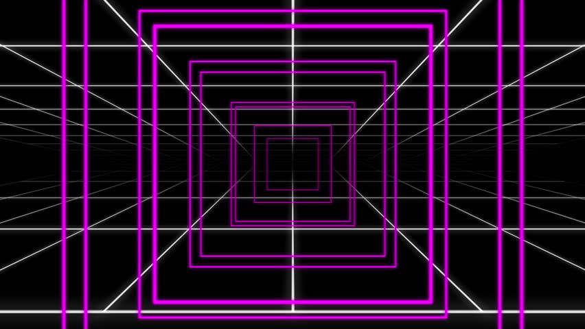 Retro Neon Grid Squares and Circle Pop Loop
