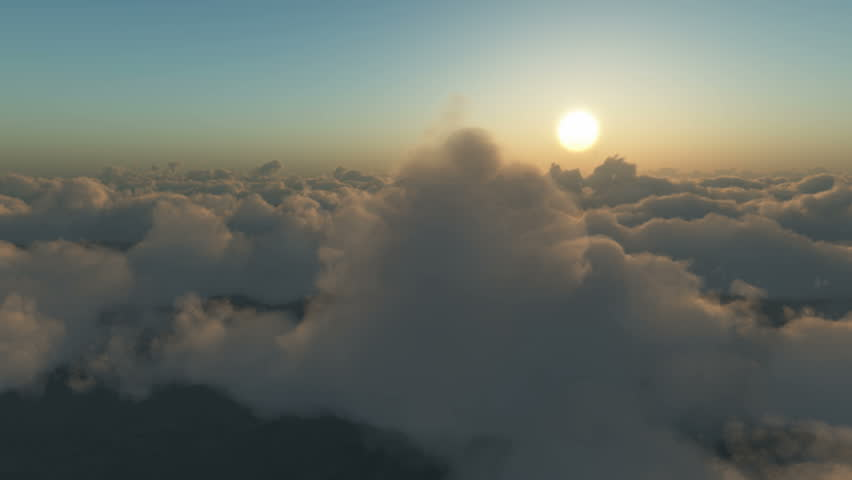 flying towards the sun above the clouds at dawn or dusk.