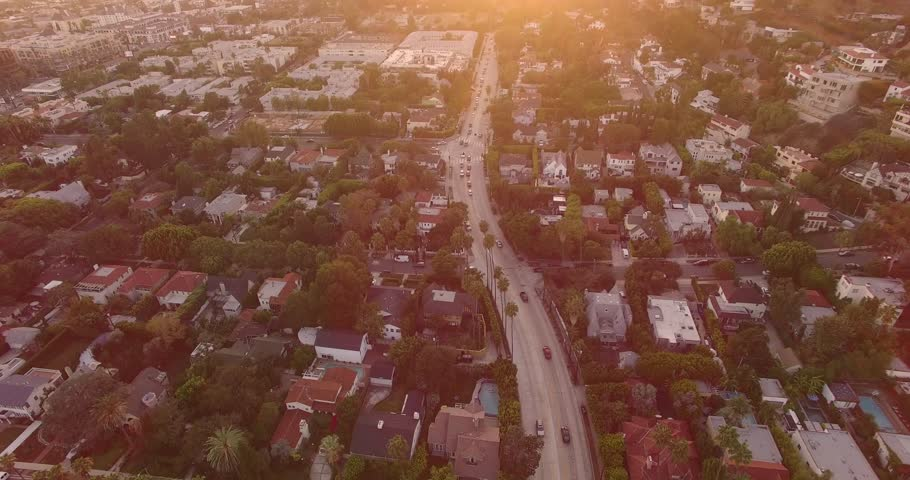 Aerial view of residential neighborhoods around Hollywood Boulevard at sunset. 4K UHD.   Shutterstock HD Video #11867069
