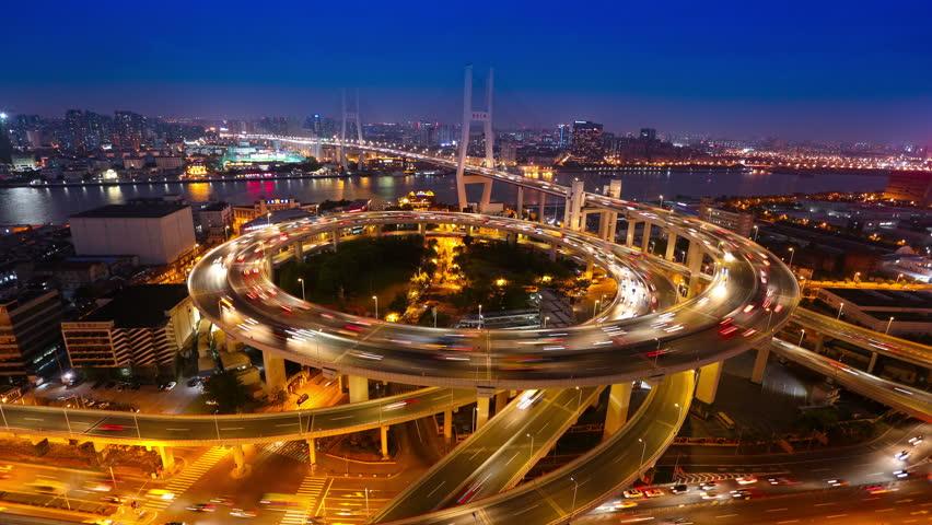 4K time lapse: Shanghai Nanpu Bridge,a spiral bridge at night