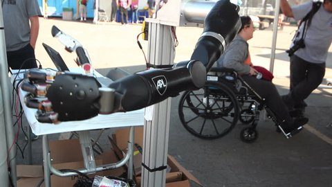 POMONA, CA - JUNE 6, 2015: Johns Hopkins's Modular Prosthetic Arm replicating many human limb motions at the DARPA Robotics Challenge in Pomona, CA on June 6, 2015. It is currently being tested by amputees.