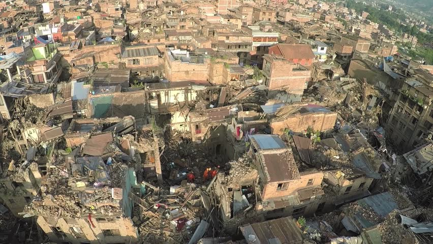 Drone Shots At Bhaktapur Nepal With Search And Rescue Team Work After The Earthquake In
