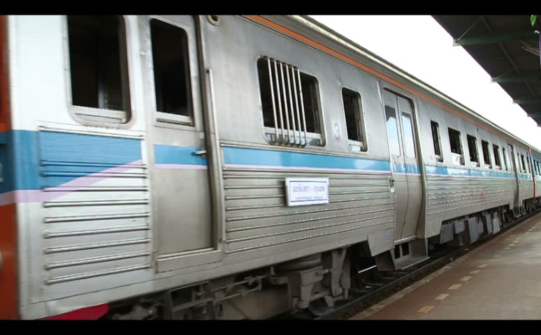 Thailand, Chachoengsao Railway Station, 5 September 2015. Train arrive at Railway Station | Shutterstock HD Video #11915249