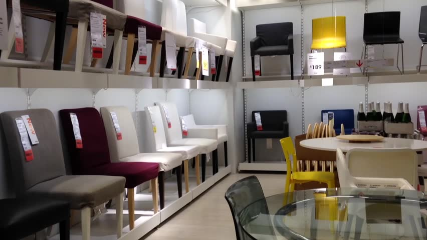 Coquitlam, BC, Canada   September 18, 2015 : One Side Of Display Chairs  Inside Ikea Store Stock Footage Video 11954174 | Shutterstock