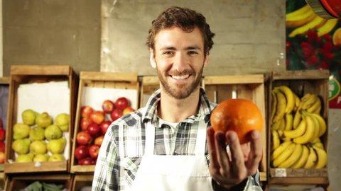 Man showing the orange