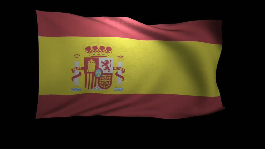 A 3D Rendering of the flag of Spain waving in the wind. The background is an Alpha Channel.
