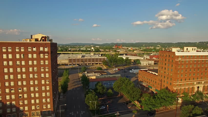 Aerial video of Birmingham, Alabama during the day.