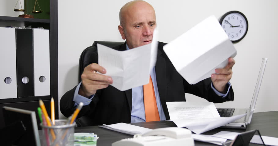 Businessman Corporate Office Manager Irritated Incapacity Invoices Payment Taxes ( Ultra High Definition, UltraHD, Ultra HD, UHD, 4K, 2160P, 4096x2160 )