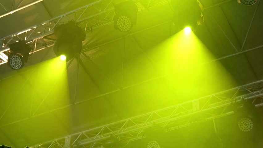 Light equipment with searchlight work on frame above stage | Shutterstock HD Video #12029654