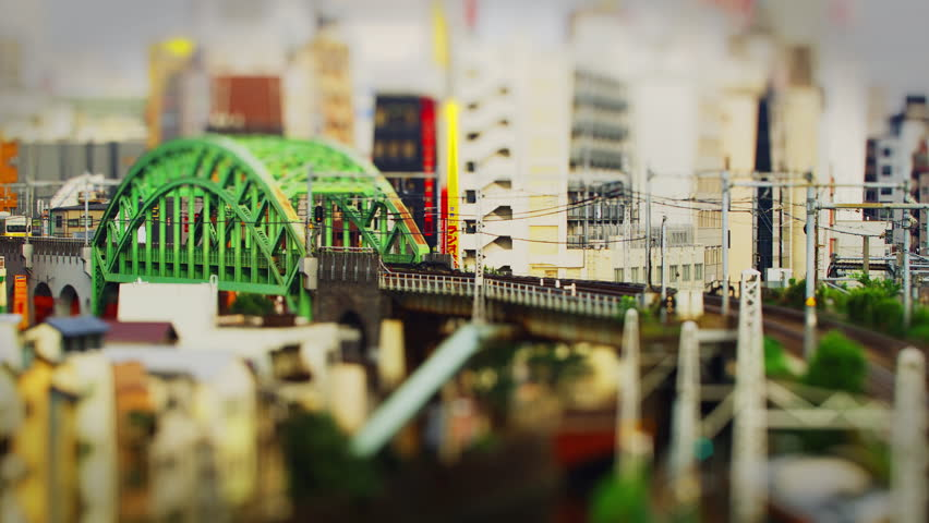 JR Train crossing a Bridge in Akihabara Tilt Shift