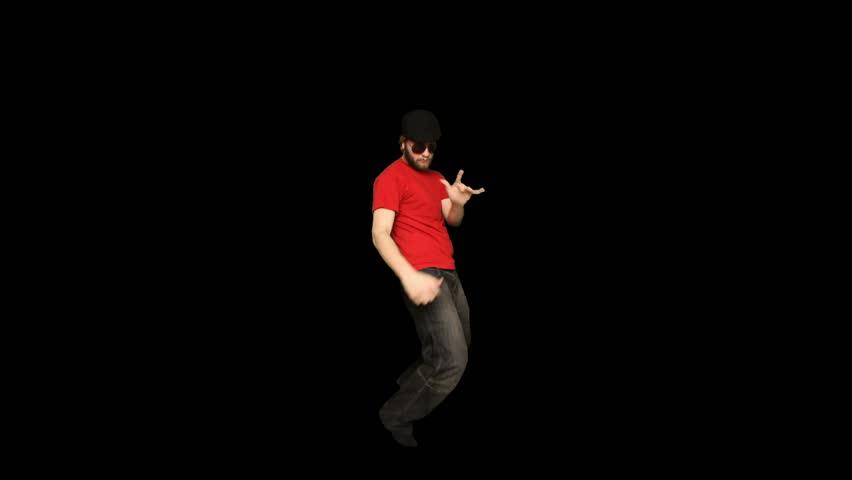 Young adult man dancer. Alpha matte. Green screen pre keyed. Alpha matte.