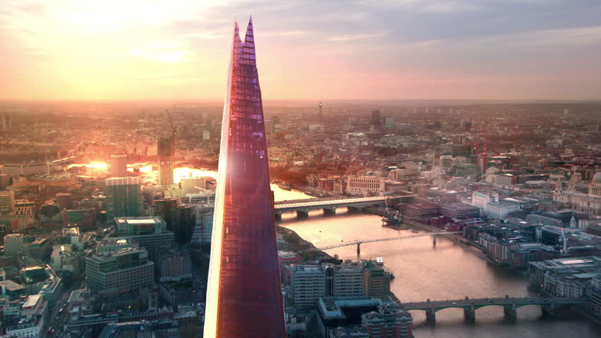 LONDON, UK - JANUARY 27, 2015: City of London, River Thames and Shard at sunset | Shutterstock HD Video #12083747