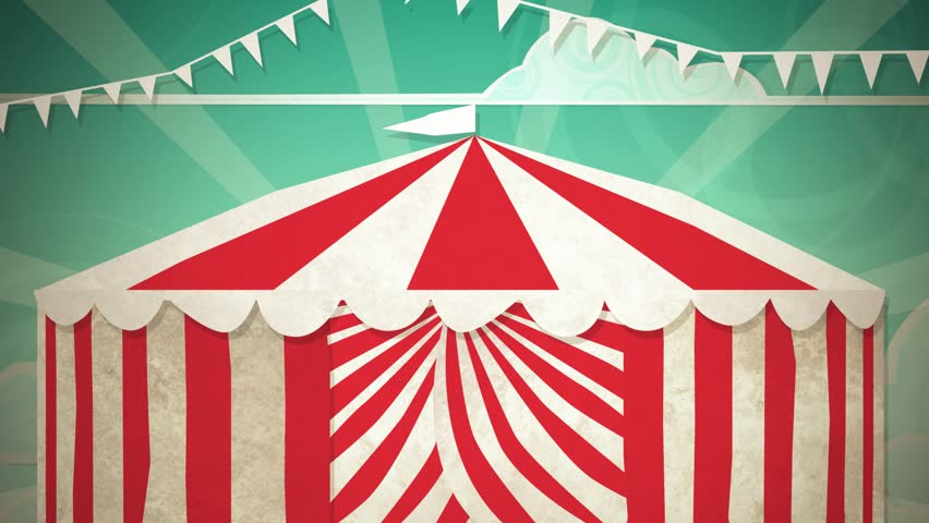 Dynamic graphic animation using paper cutout styled elements to illustrate a circus tent opening. High definition 1080p. | Shutterstock HD Video #1210027