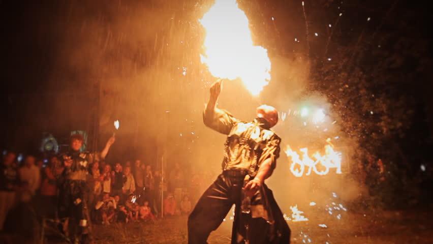 RUSSIA, SAMARA, JULY 28, 2015: Fire show at the festival