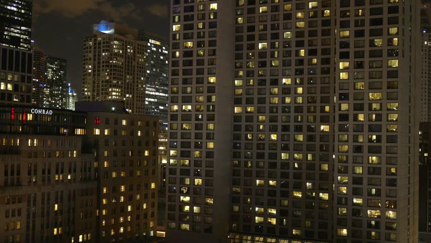 CHICAGO - CIRCA JULY, 2015: night highrise city lights circa July, 2015 in Chicago.  | Shutterstock HD Video #12126284