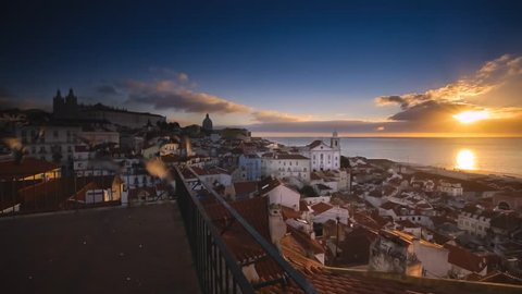 Cinemagraph Loop - Sunset over a coastine town in Lisbon, Portugal - Motion photo