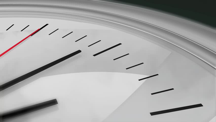 Three dimensional close-up animation of a chrome clock ticking. High definition