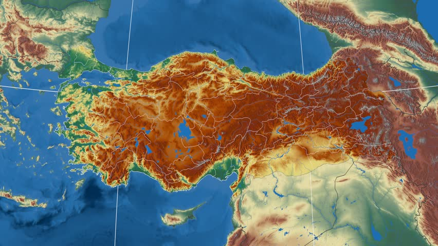 Bartin Region Extruded On The Physical Map Of Turkey Rivers And