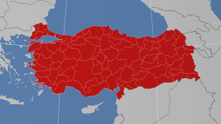 Gumushane Region Extruded On The Administrative Map Of Turkey Solid