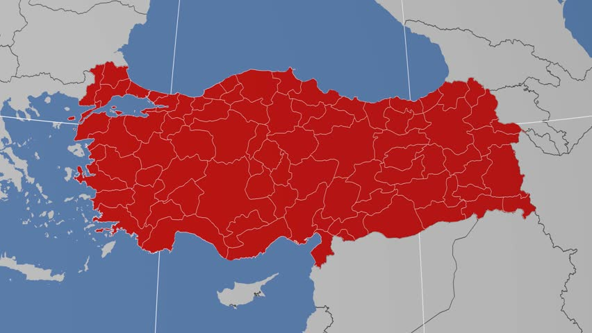 Kocaeli Region Extruded On The Administrative Map Of Turkey Solid