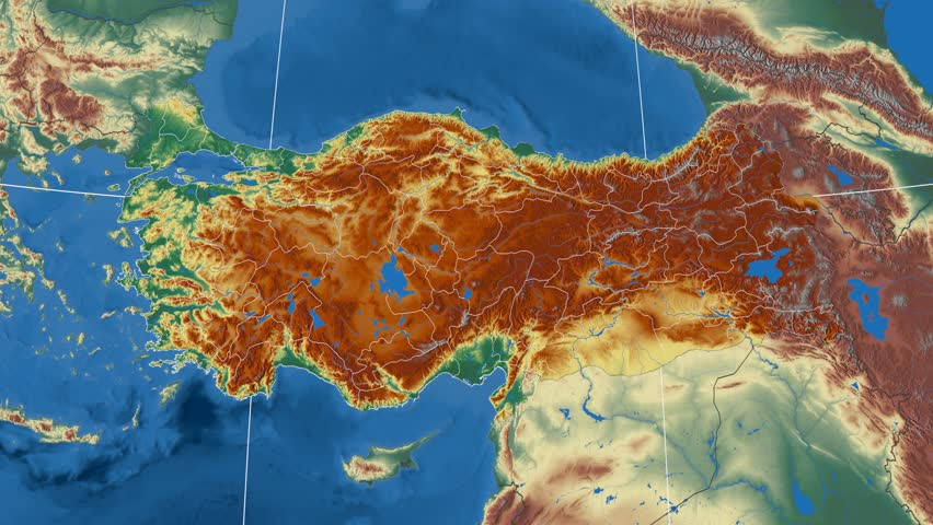 Burdur Region Extruded On The Physical Map Of Turkey Rivers And