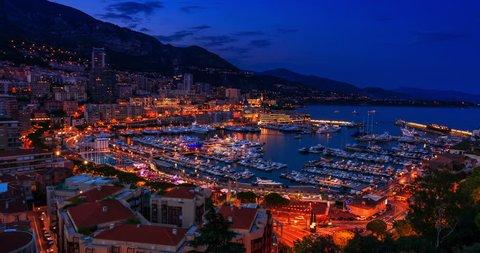 Sunset to Iluminated Monte Carlo, Monaco (day to night)